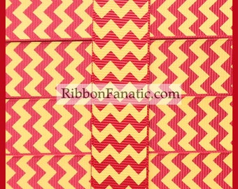 """5 yds 7/8"""" Crimson Red and Yellow Gold Chevron Striped Grosgrain Ribbon"""