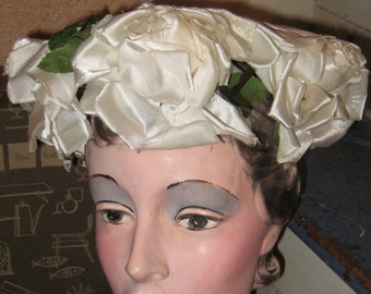 Stop N Smell The Roses Bouquet Rose Hat with Hat Box  Carson Pirie Scott Wedding Hat