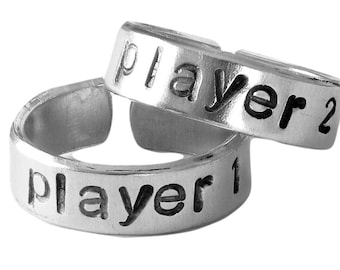 Player 1 and Player 2 Video Game Ring Set | BFF Best Friends | Adjustable Aluminum Ring Set