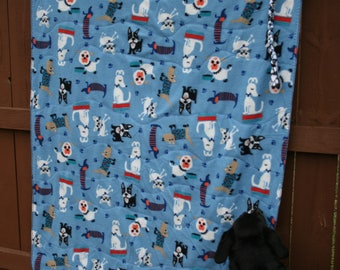 Dogs & Cats Large sized Blanket for People - 2 layers Fleece - ONE of a kind. Sales Benefit MCAR