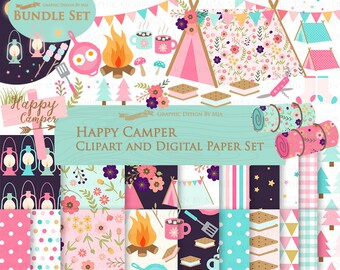 Happy Camper, Camping, Pink & Blue Clip Art + Digital Paper Set - Instant Download
