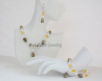 Yellow & Gray Glass Jewelry Set