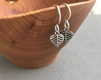 Tiny Silver Leaf Earrings, Delicate Silver Earring, Leaf Jewelry, Everyday Silver, Dangle Earrings, 925 Silver, Boho Nature Botanical