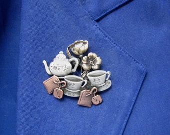 Tea For Two Brooch- Tea Lovers brooch- Tea Lovers Gift- mixed metal jewelry