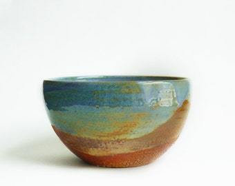 Pottery serving bowl, Rustic pottery bowl, Rustic Kitchen, Blue pottery, Earthy pottery bowl, Rustic wedding gift, Rustic home decor.