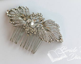 Wedding hair jewelry, rhinestones bridal hair comb, small bridal hair comb