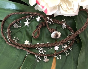 Brown leather long necklace braided with  stars and flowers/longnecklace/brownleather/starsandflowers/perfectgift