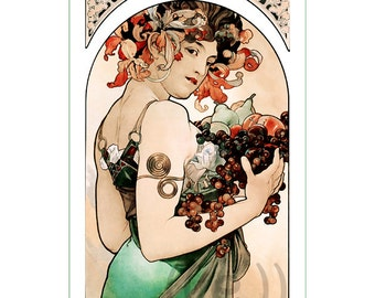 fabric panel - painting by Alphonse Mucha (56). For sewing, patchwork, quilting.