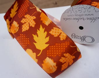 Wired Fall Ribbon, Wired Autumn Leaf Ribbon, 10 yard Roll