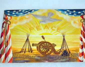 Memorial Day Souvenir Dove Peace Cannon American Flags Postcard c1910