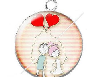 Pendant cabochon resin love couple Valentine's day 7