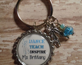 Personalized Dance Teach Inspire key chain with charms