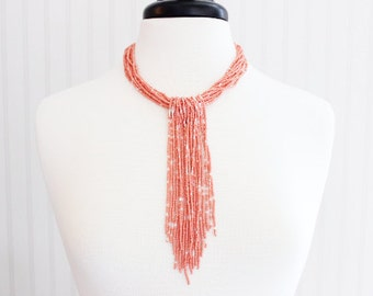 Coral White Tassel Beaded Necklace