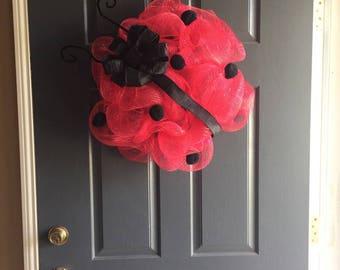 Lady Bug Wreath, Spring, Bug, Red