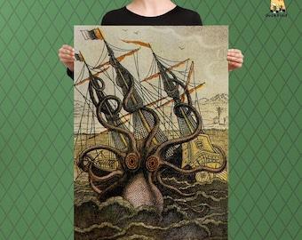 Classic Nautical Inspired Art, Kraken of the Sea, Giant Squid, Raised Canvas Art Piece