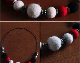 necklace, felted ball, ring, handmade necklace, white, black, red, gift, fashion, unique necklace, jewerly, felted jewerly, felted necklace
