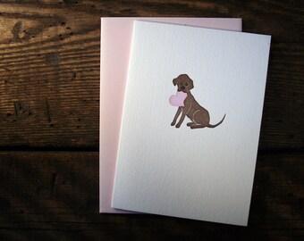 Letterpress Printed Chocolate Lab Valentine Card - single