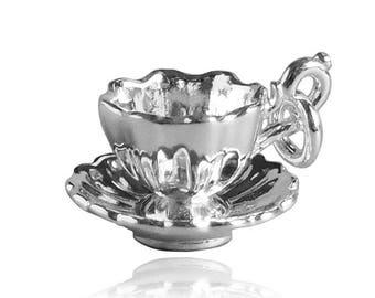 Fancy Tea Cup and Saucer Charm .925 Sterling Silver CMDKCP01 Bracelet Pendant Teacup