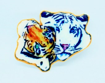 Tigers Painting Pair Handmade Broach  or Magnet Couple Shrink Film