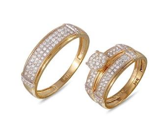 Gold Wedding Ring Trio