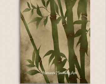 Bamboo Wall Art Print 8 x 10, Green Grass Asian Home Decor, Natural Brown Earthtones, Bamboo Art