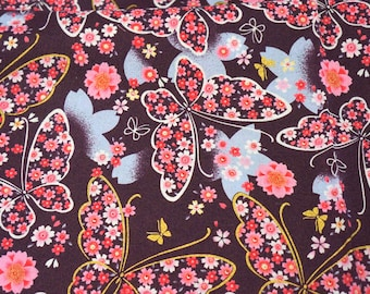Kimono print sakura cherry flowers and butterfly on dark purple  Japanese fabric half meter 19.6 by 42 inches nc11