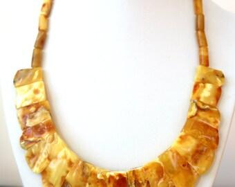 """Baltic Amber Jewelry Choker Antique Butterscotch Natural Yolk 18"""" 30.7 gram 925 Silver"""