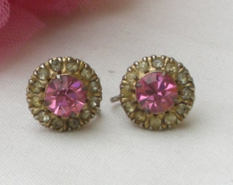 Earrings - Pink Rhinestones - Vintage