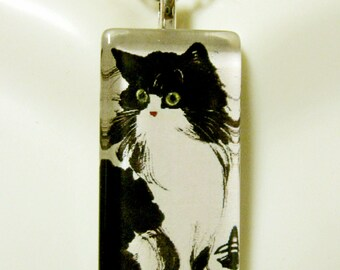 Japanese black cat pendant and chain - CGP12-058