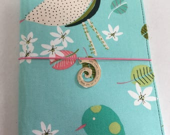 Whimsical birds, fabric journal cover, refillable