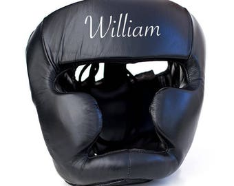Personalised Leather Head Guard Black