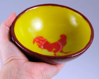 Rooster Small Fused Glass Bowl