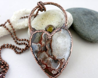 Sunny Heart Necklace, Mushroom Rhyolite & Yellow Quartz, Electroform Copper, Natural Stone, Boho Necklace, Large Heart Pendant w/Chain