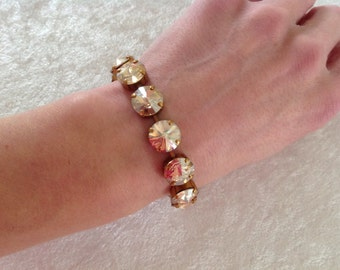 12mm swarovski crystal bracelet- gold- holiday gift- bridesmaid gift- iridescent- light brown