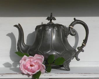 Vintage metal teapot, vintage kitchen, ornate teapot, design accent, steampunk, country home, shabby chic, rustic, antique teapot