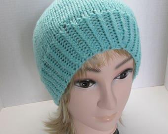 Hand Knit Aqua Basic Hat/Slouchy/Beanie/Cap