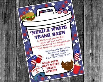 Patriotic White Trash Bash July Fourth Party Customized Printable Digital Invitation Red White and Blue Merica 4th Independence Day Cookout