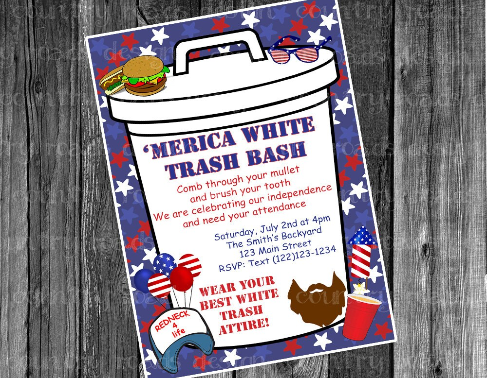 Patriotic white trash bash july fourth party customized patriotic white trash bash july fourth party customized printable digital invitation red white and blue merica 4th independence day cookout stopboris Image collections