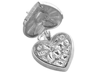 Chocolate Box Opens to Chocolates .925 Sterling Silver Bracelet Charm CMFDCC02 Opening to Candy Heart Shaped