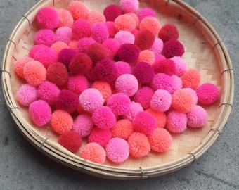 50 Piece Pink Pom Pom,bon bon