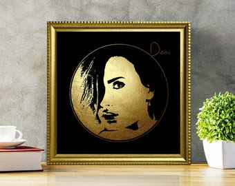 Demi Lovato in Gold - Demi Lovato - Demi Lovato Print - Demi Lovato Poster - Personalities Portraits - Demi Lovato art - black and gold