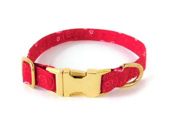 Valentine's day dog collar, red and gold collar, hearts cat collar