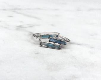 Raw Aquamarine Ring, Sterling Silver Ring, Rings for Women, Gemstone Ring, Statement Ring, Stacking Rings, Raw Crystal Ring, Boho Ring