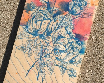 Turquoise Cabbage Rose Floral Burst - Colored Pencil with Watercolor Accents on Wood