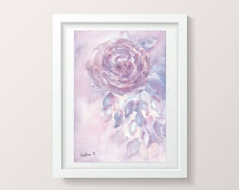 Watercolor Rose Painting Wall Decor Living Room Watercolor Flower Painting Floral Watercolor Painting Lavender Home Decor for Bedroom