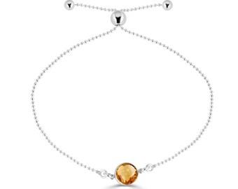 Natural Citrine Bracelet, Sterling Silver Slider Bracelet, Personalized November Birthstone Bracelet, Citrine Jewelry, Beaded Bracelet, Sada