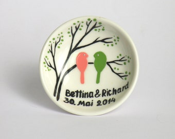 Wedding Ring Dish Pink and green birds on branch FREE SHIPPING
