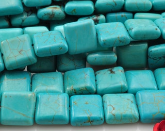38 pcs of Chinese Turquoise smooth square beads in 10mm