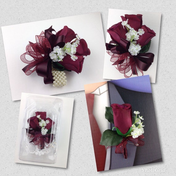 New Artificial Burgundy Rose Corsage Burgundy Rose
