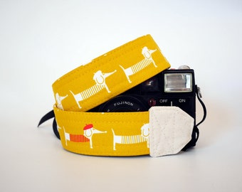 Dachshund camera strap, SLR DSLR camera strap, dog camera strap, gift for him, Nikon camera strap, Yellow